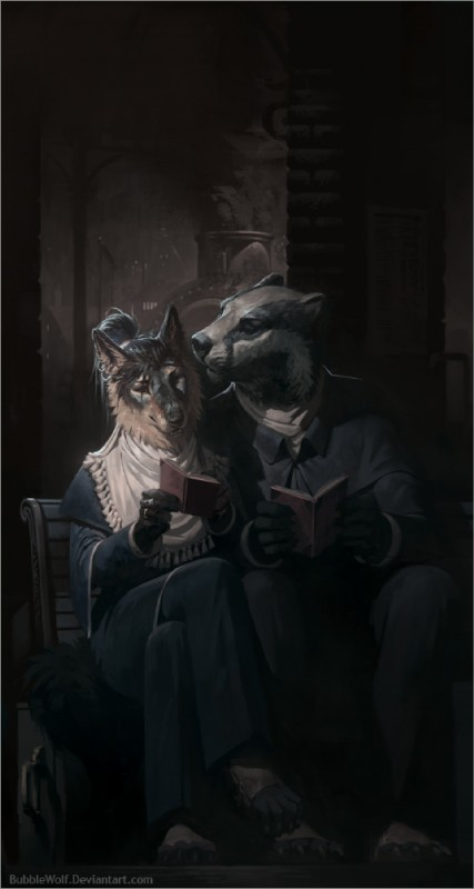 e926 badger book bubblewolf canine clothing digital_media_(artwork) dress female male mammal mustelid reading sitting smoke wolf