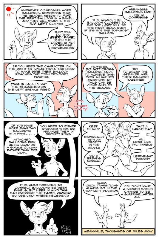 e926 2018 4_fingers anthro bruce_(housepets!) cartooning comic digital_media_(artwork) duo english_text hair how-to instructions kangaroo male mammal marsupial nude outside rick_griffin roosevelt_(housepets!) sun text the_more_you_know