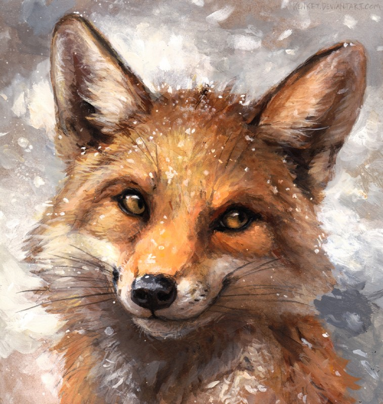 e926 2017 abstract_background ambiguous_gender black_fur black_lips black_nose canine countershade_face countershading day detailed feral fluffy fox front_view fur headshot_portrait icon inner_ear_fluff kenket long_mouth looking_away mammal no_sclera orange_eyes orange_fur painting_(artwork) portrait red_fox shadow slit_pupils smile snout snow snowing solo traditional_media_(artwork) whiskers white_fur