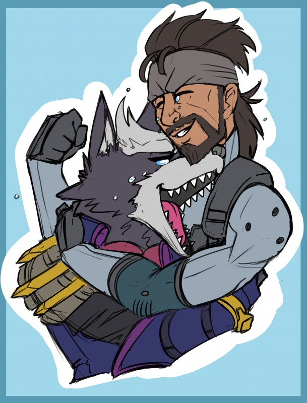 e926 anthro armor beard blue_background canine clenched clenched_teeth clothing crying facial_hair gloves hug human konami male mammal metal_gear nintendo open_mouth simple_background solid_snake star_fox super_smash_bros super_smash_bros._ultimate tears tears_of_joy teeth tidywire tongue video_games wolf wolf_o'donnell