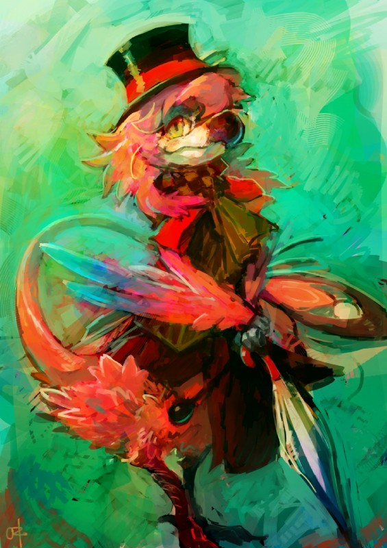 e926 anthro avian biped bird bow clothed clothing crossdressing digital_media_(artwork) feathers hat hi_res looking_at_viewer male nevrean ouroporos priley ribbons solo top_hat umbrella