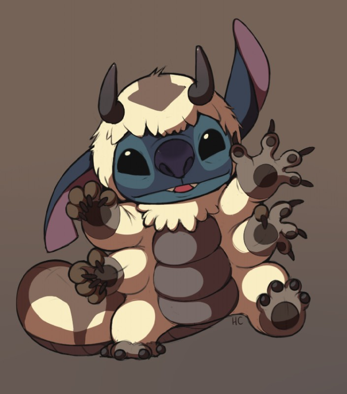 e926 2012 4_arms 4_fingers 4_toes alien appa avatar:_the_last_airbender black_claws black_eyes black_horn blue_fur blue_nose claws cosplay cute digital_drawing_(artwork) digital_media_(artwork) disney experiment_(species) fur grey_background happycrumble horn lilo_and_stitch looking_at_viewer male multi_arm multi_limb nickelodeon notched_ear simple_background solo stitch toes