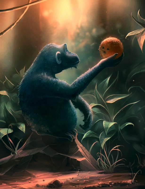 e926 aquasixio coconut day detailed_background digital_media_(artwork) feral food fruit grass mammal monkey outside primate rock solo