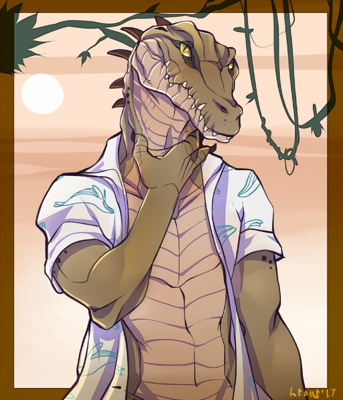 e926 2017 anthro athletic brown_skin claws clothed clothing crocodile crocodilian leonelatwerk looking_at_viewer male manly nile_crocodile obelisk partially_clothed reptile scalie shirt simple_background solo standing teeth yellow_eyes