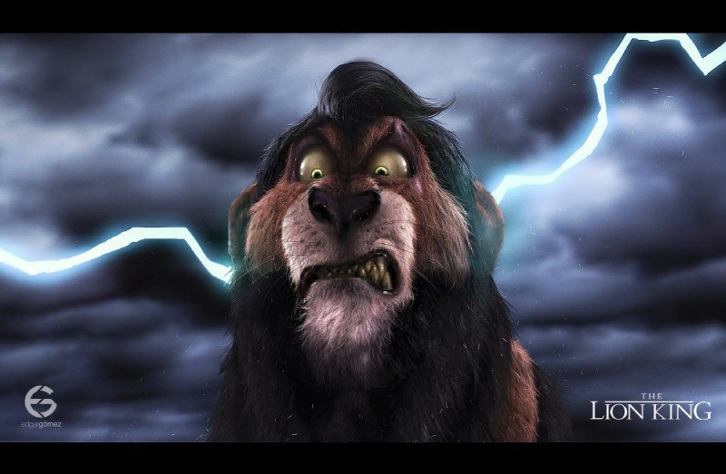 e926 angry black_bars black_hair black_nose brown_fur detailed disney edgar_gómez eye_scar feline feral front_view fur green_eyes hair lightning lion looking_at_viewer male mammal nude outside scar scar_(the_lion_king) sky snarling solo the_lion_king watermark whiskers yellow_sclera