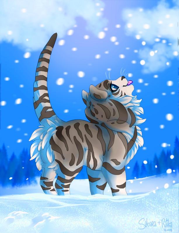 e926 2018 blue_eyes cat day detailed_background digital_media_(artwork) feline feral fluffy mammal outside ritka sabara snow standing