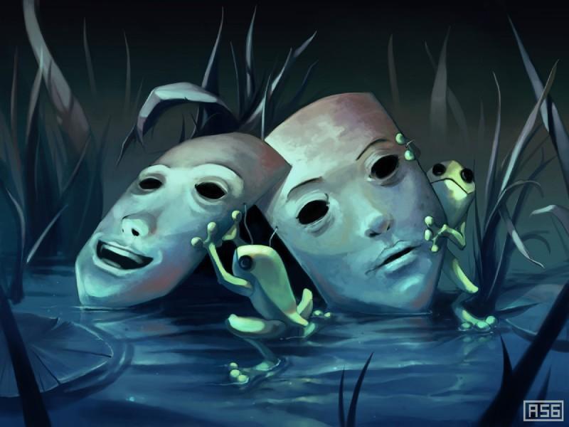 e926 amphibian aquasixio digital_media_(artwork) duo feral frog grass green_skin mask water