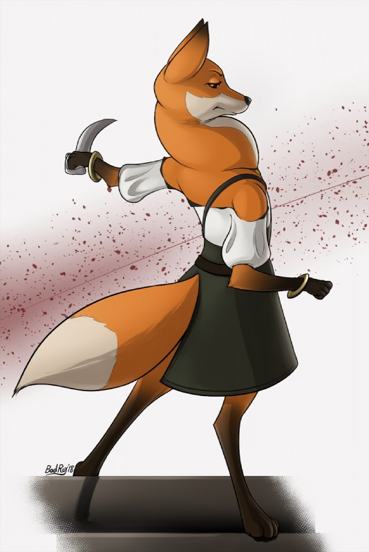 e926 2018 anthro armello badroy black_nose bracelet canine clothed clothing dress female fox fur jewelry mammal melee_weapon orange_fur scarlet_(armello) solo sword weapon