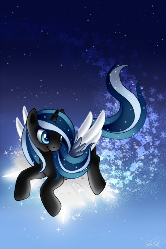 e926 black_fur blue_eyes blue_feathers blue_hair equine fan_character feathered_wings feathers female feral flying fur hair hi_res horn mammal multicolored_hair my_little_pony shilokh smile snowdrift snowflake solo star watermark white_feathers winged_unicorn wings