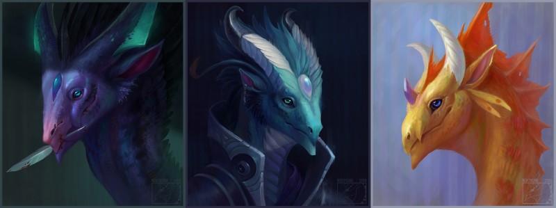 e926 2018 anthro blood blue_eyes digital_media_(artwork) dragon feral fur green_eyes green_fur headshot_portrait horn neboveria portrait smile spines