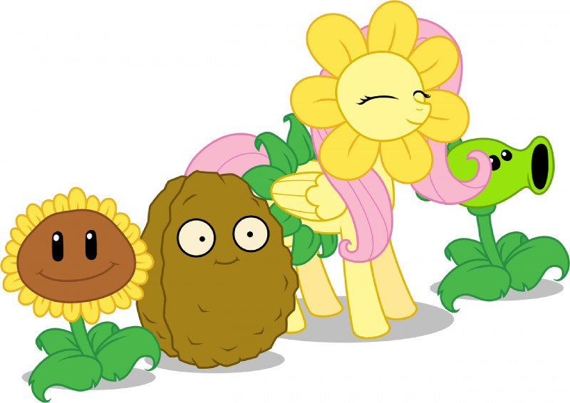 e926 crossover cute equine feathered_wings feathers female feral flora_fauna flower fluttershy_(mlp) friendship_is_magic group mammal my_little_pony nut peashooter pegasus plant plants_vs_zombies sunflower sunflower_(plant_vs_zombies) unknown_artist wall-nut wallnut wings yellow_feathers