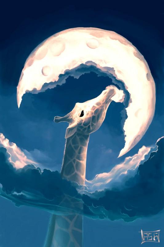 e926 ambiguous_gender aquasixio black_eyes digital_media_(artwork) digital_painting_(artwork) feral giraffe mammal moon solo