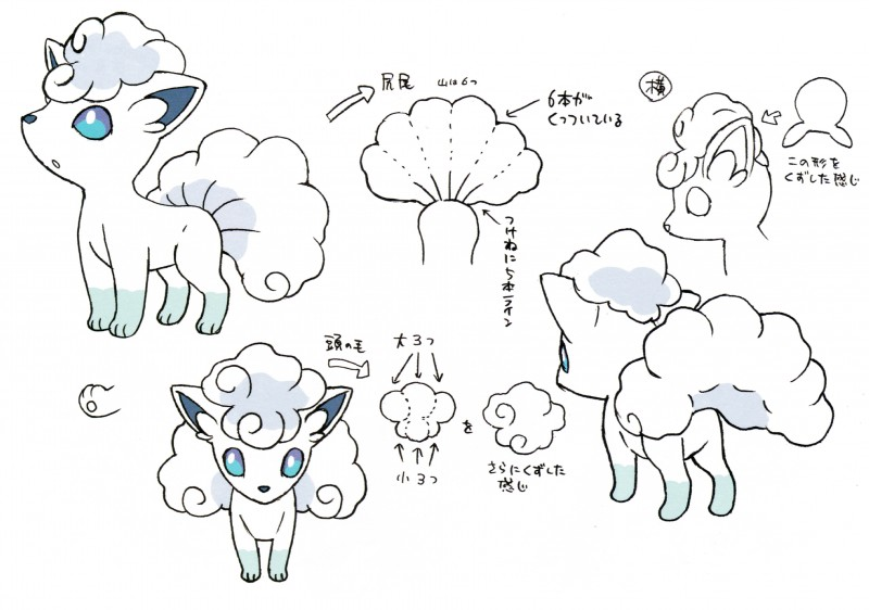 e926 alolan_vulpix ambiguous_gender black_and_white blue_eyes canine fur mammal model_sheet monochrome nintendo official_art pokémon pokémon_(species) regional_variant simple_background six_tails video_games white_background white_fur