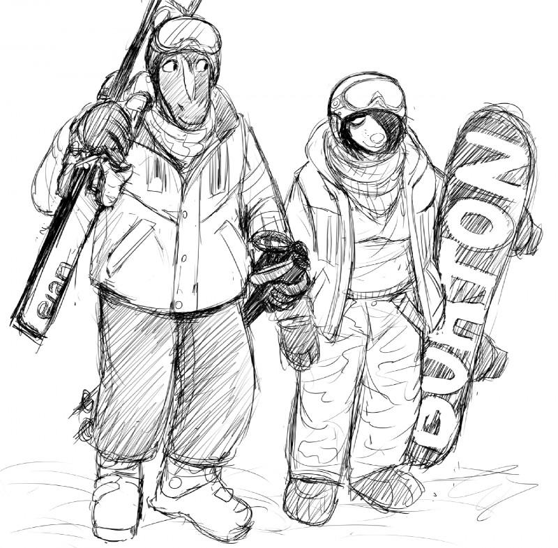 e926 anthro black_and_white burton_snowboards canine coat dog duo elan_(company) equine eyewear female goggles hair hladilnik male mammal michelle_(hladilnik) monochrome sketch ski snowboard zebra zebra_son_(hladilnik)