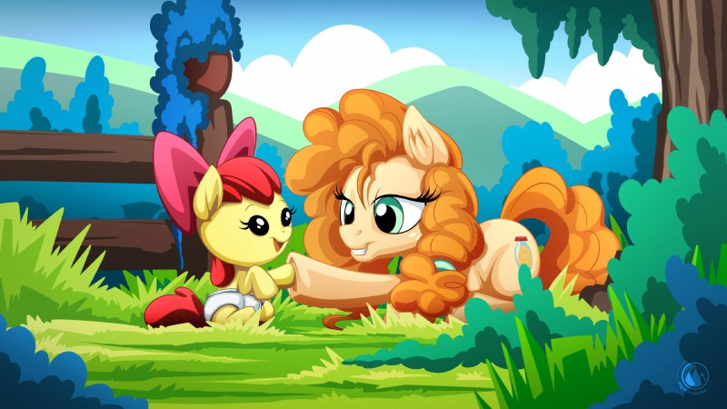 e926 2018 apple_bloom_(mlp) bow daughter diaper duo equine female friendship_is_magic horse lying mammal mother mother_and_daughter my_little_pony mysticalpha parent pear_butter_(mlp) pony sitting