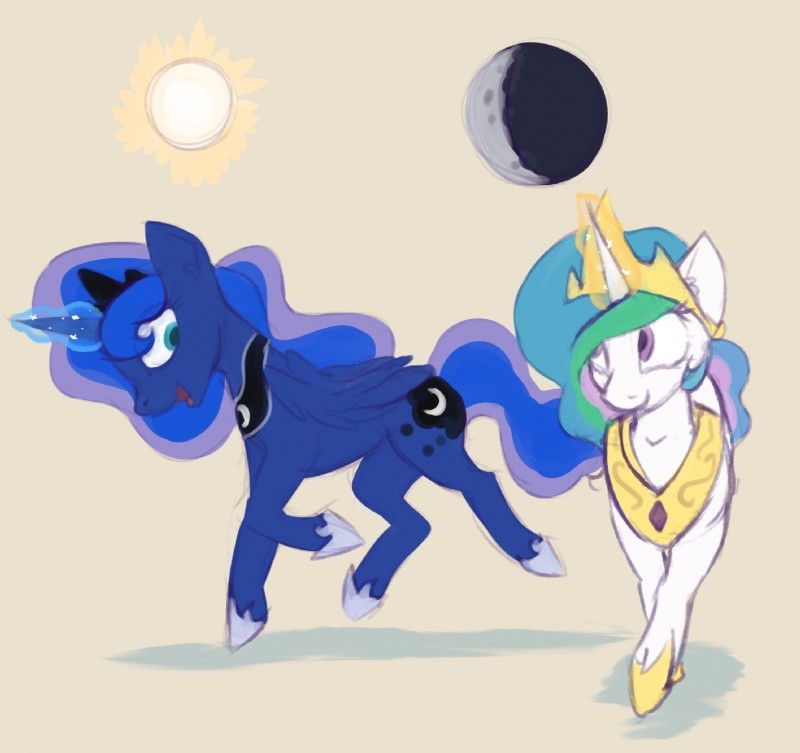 e926 duo equine female friendship_is_magic horse mammal marsminer my_little_pony pony princess_celestia_(mlp) princess_luna_(mlp) simple_background tan_background