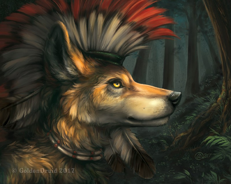 e926 2017 5:4 black_nose brown_fur canine day detailed detailed_background feathers feral forest fur goldendruid grass headdress headshot_portrait jewelry male mammal necklace nude orange_fur outside portrait side_view solo tree wolf yellow_eyes