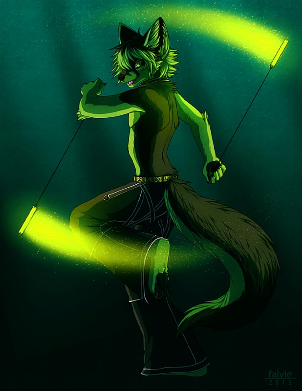 e926 2013 anthro barefoot black_fur canine clothed clothing falvie fox fur glowing glowstick green_eyes green_fur male mammal pants pawpads poi simple_background solo topless