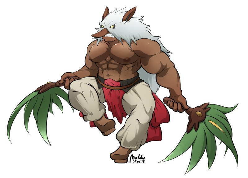 e926 2015 abs anthro biceps big_muscles clothed clothing hi_res loincloth maldu male muscular navel nintendo nipples pants pecs pokémon pokémon_(species) rope_belt shiftry simple_background solo teeth topless video_games white_background