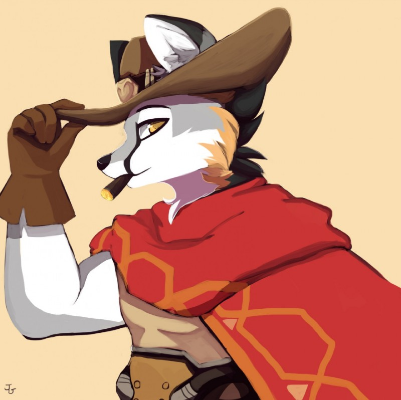 e926 canine cape cigar clothing fox grey_fox hat jigglet mammal mccree_(overwatch) overwatch simple_background solo video_games