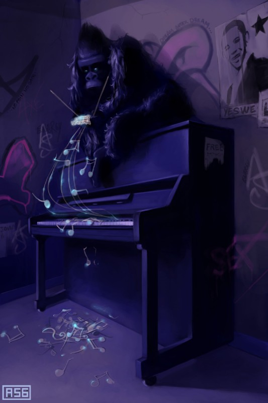 e926 ape aquasixio black_fur digital_media_(artwork) feral fur gorilla inside mammal musical_instrument piano primate sitting solo