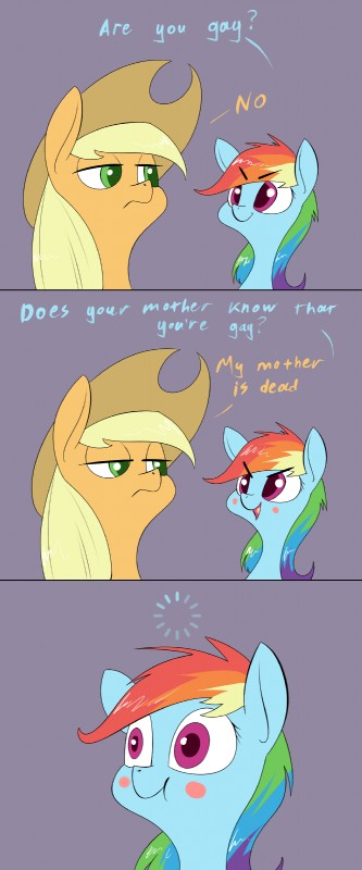 e926 applejack_(mlp) blonde_hair blush blush_stickers detailed_background english_text equine female friendship_is_magic green_eyes hair hat mammal multicolored_hair my_little_pony purple_eyes rainbow_dash_(mlp) rainbow_hair text underpable