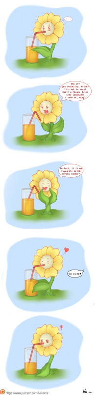 e926 2017 absurd_res beverage comic dialogue drinking english_text eyes_closed flora_fauna flower flowey_the_flower hi_res lemonade neko-me not_furry patreon plant solo straw text undertale unseen_character video_games