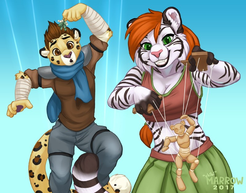 e926 anthro ash_(ashkelling) body_control brown_eyes brown_hair chibi-marrow clothed clothing duo feline female fur green_eyes hair keilani leopard male mammal mind_control puppet red_hair scarf simple_background smile spots spotted_fur tiger