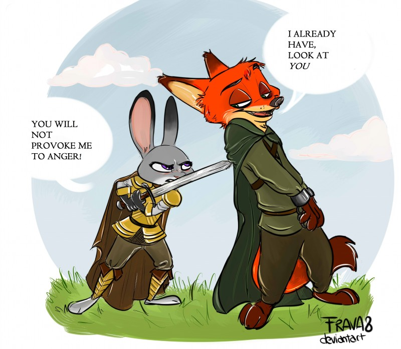 e926 2017 3_toes 4_fingers absurd_res anthro armor barefoot canine cloak clothing dialogue dipstick_ears dipstick_tail disney duo female fox frava fur gloves green_eyes hi_res holding_object holding_weapon judy_hopps lagomorph looking_back male mammal melee_weapon multicolored_tail nick_wilde outside pants purple_eyes rabbit shackles shirt simple_background sword toes weapon zootopia
