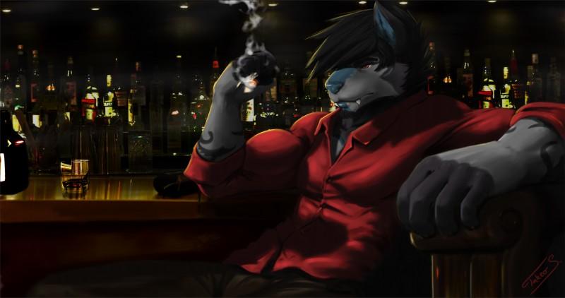 e926 bar beverage canine cigarette clothing hi_res kai_thranduill male mammal muscular shirt takeo_s wolf