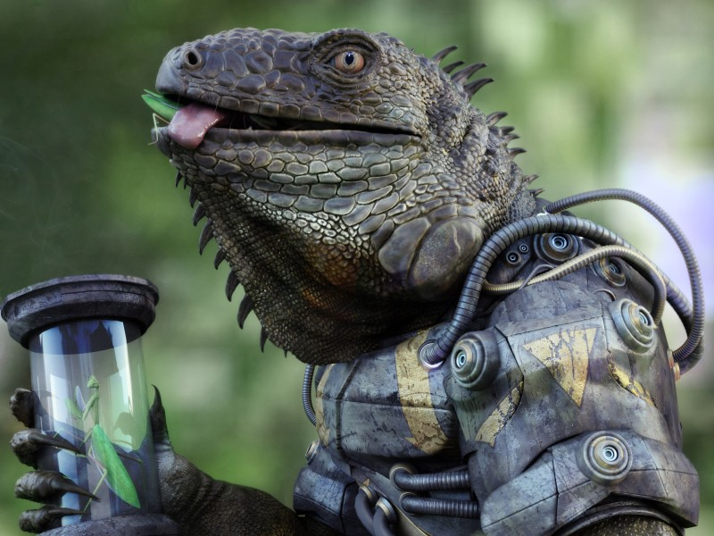 e926 3d_(artwork) 4:3 ambiguous_gender anthro antonio_peres armor arthropod body_in_mouth claws detailed digital_media_(artwork) eating food glass hi_res iguana insect lizard machine mantis power_armor realistic reptile scalie solo tube
