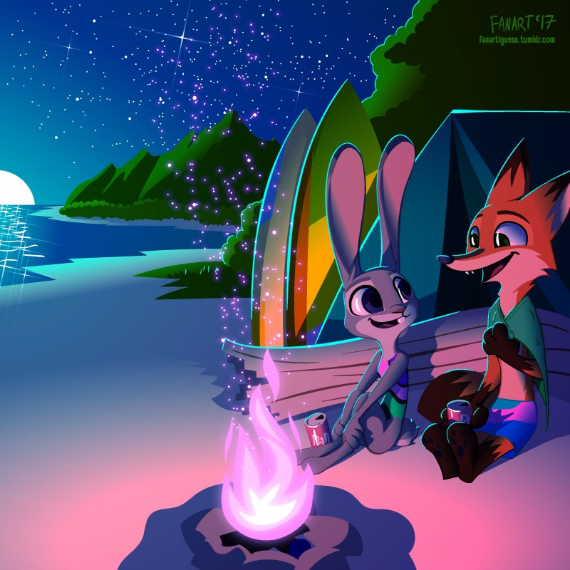 e926 2017 absurd_res anthro beach beverage beverage_can buckteeth canine clothing dipstick_ears dipstick_tail disney duo eye_contact fanartiguess female fire fox gloves_(marking) green_eyes hi_res holding_object judy_hopps lagomorph long_ears looking_back male mammal markings multicolored_tail nick_wilde one-piece_swimsuit open_mouth open_smile purple_eyes purple_fire rabbit seaside shorts signature sitting smile socks_(marking) soda surfboard swimsuit teeth tent towel url zootopia