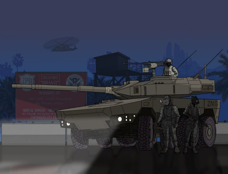 e926 aircraft aleone armored_vehicle assault_rifle battle caracal clothing dark_sky detailed_background disney feline fema gun helicopter ifv m16a3 m4 male mammal military national_guard night palms panther ranged_weapon rhinoceros rifle soldier uh60_blackhawk uniform watch_tower weapon zootopia
