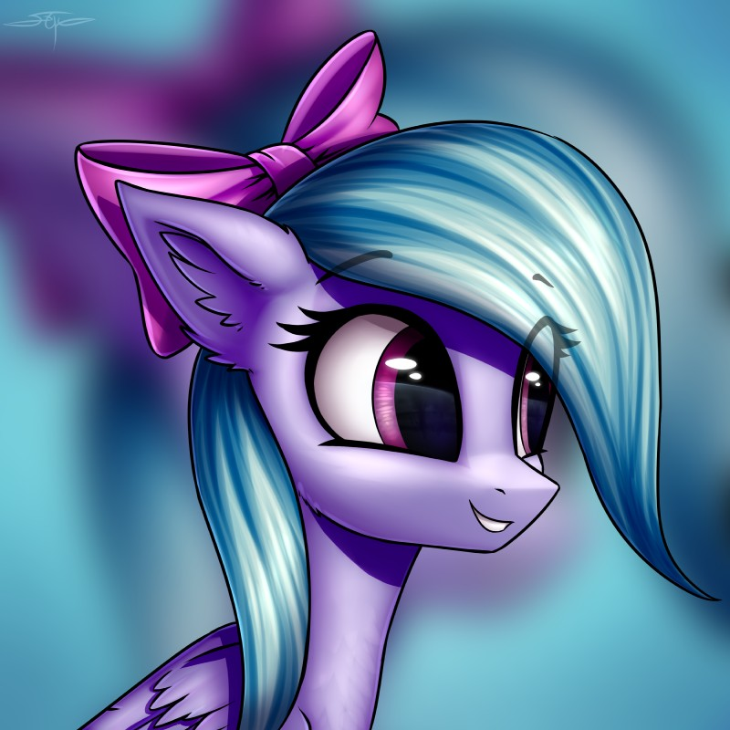 e926 2017 absurd_res digital_media_(artwork) equine eyelashes feathered_wings feathers female feral flitter_(mlp) friendship_is_magic fur hair hair_bow hair_ribbon hi_res mammal my_little_pony pegasus ribbons setharu smile solo wings