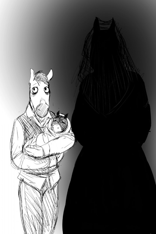 e926 2018 baby black_and_white clothed clothing creepy daughter dress equine eyes_closed faceless faceless_female family father female fully_clothed ghost gradient_background hladilnik horse male mammal mare_in_black monochrome mother parent simple_background spirit young