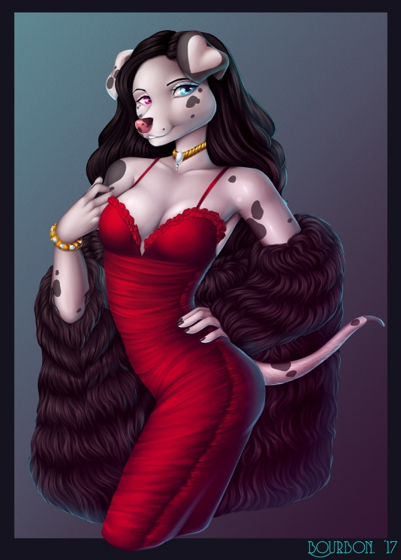 e926 2017 5_fingers anthro black_hair blue_eyes bourbon._(artist) breasts canine clothed clothing dalmatian digital_media_(artwork) dog dottipink dress female hair heterochromia jewelry looking_at_viewer makeup mammal mascara necklace purple_eyes simple_background smile solo standing