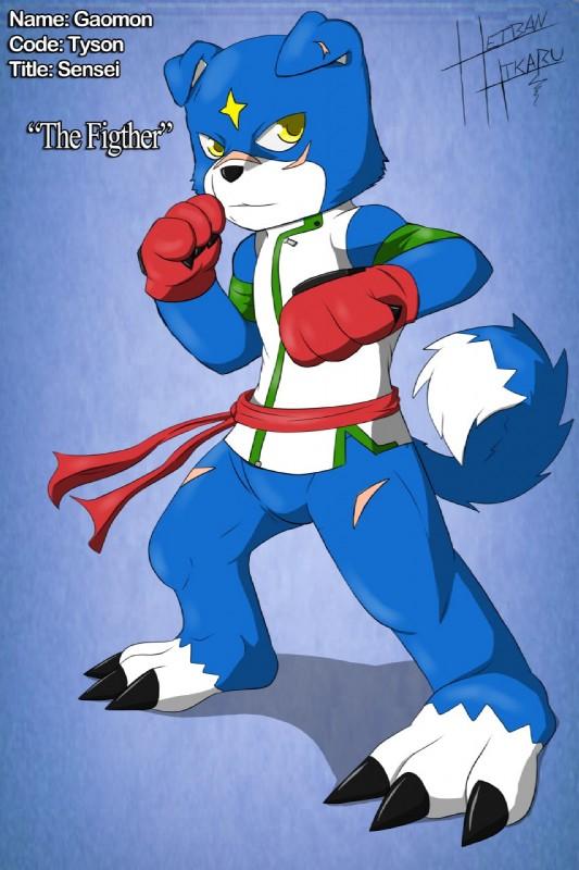 e926 blue_background canine digimon dog gaomon heibanhikaru male mammal scar simple_background tyson_the_gaomon
