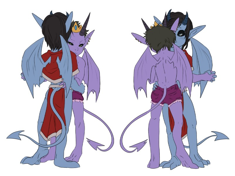 e926 2018 blush clothing digital_media_(artwork) duo hair hi_res horn humanoid imp kamechuu male not_furry wings