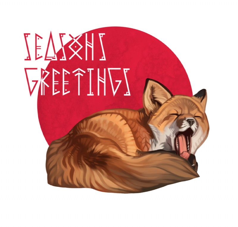 e926 blackpassion777 canine christmas countershading curled_up eyes_closed feral fox fur holidays lying mammal mystfell open_mouth orange_fur red_fox solo tongue tongue_out white_countershading yawn