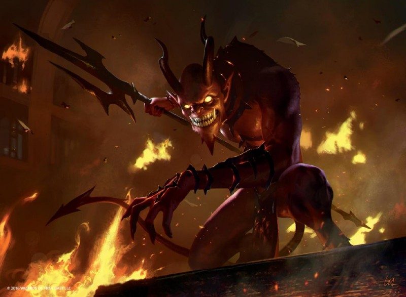 e926 demon fangs fire horn horned_humanoid humanoid jack_wang magic_the_gathering male melee_weapon not_furry official_art polearm smoke trident weapon