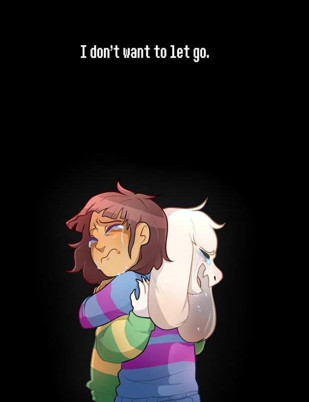 e926 2015 anthro asriel_dreemurr black_background boss_monster brown_hair caprine clothed clothing crying cute digital_media_(artwork) duo emotional english_text feels fur goat hair hi_res hug human male mammal open_mouth protagonist_(undertale) qtarts sad simple_background tears text undertale video_games white_fur