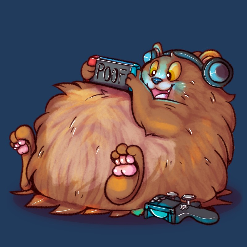 e926 2018 3_fingers 3_toes bear bearphones blue_background brown_fur controller dualshock_4 featureless_crotch fur game_controller gaming grizzly_bear happy headphones hi_res male mammal nintendo nintendo_switch open_mouth orange_eyes overweight pawpads playing_videogame playstation_4 pocketpaws poof reclining simple_background smaller_version_at_source smile solo toes tongue video_games
