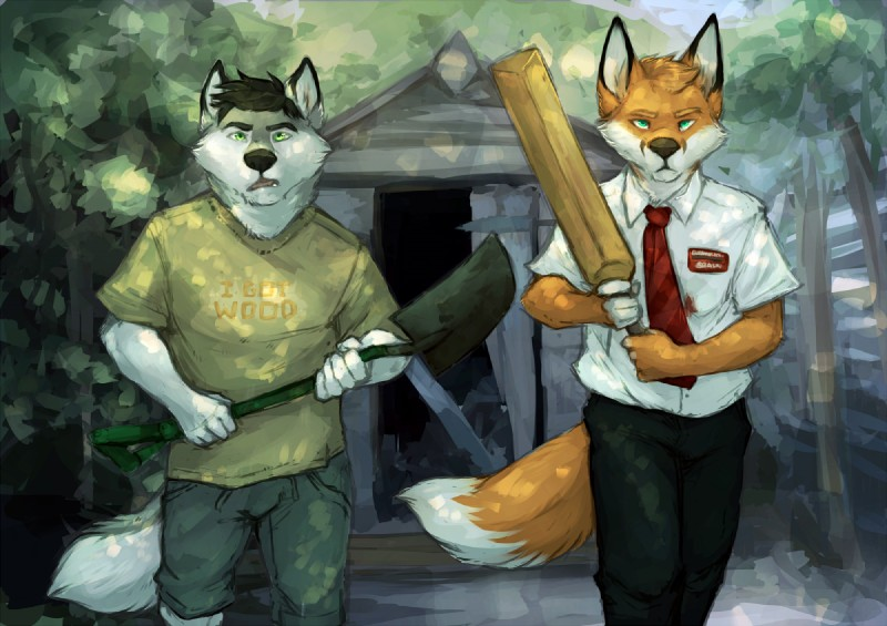 e926 anthro canine clothing cricket_bat duo fox fur garnetto green_eyes holding_object holding_tool improvised_weapon looking_at_viewer male mammal shaun_of_the_dead shed shovel tree walking weapon wolf