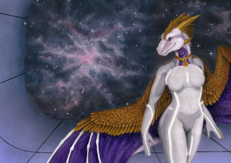 e926 2018 anthro blue_eyes dragon female gold_(metal) gold_jewelry gold_necklake golden_feathers golden_horns horn inside jewelry membranous_wings multicolored_skin painting_(artwork) purple_wings samantha-dragon scalie sky solo space spacescape standing star starry_sky tir-goldeness_(character) traditional_media_(artwork) tron_clothing tron_legacy white_skin wings