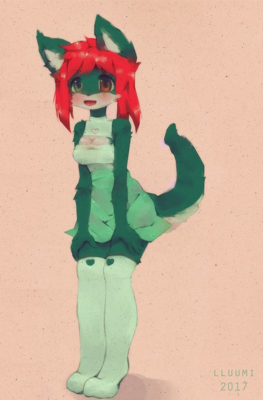 e926 2017 anthro blush breasts cat clothed clothing digital_drawing_(artwork) digital_media_(artwork) feline female fluffy fur green_fur hair happy heterochromia kemono keyhole knee_socks legwear lluumi mammal open_mouth red_hair socks solo