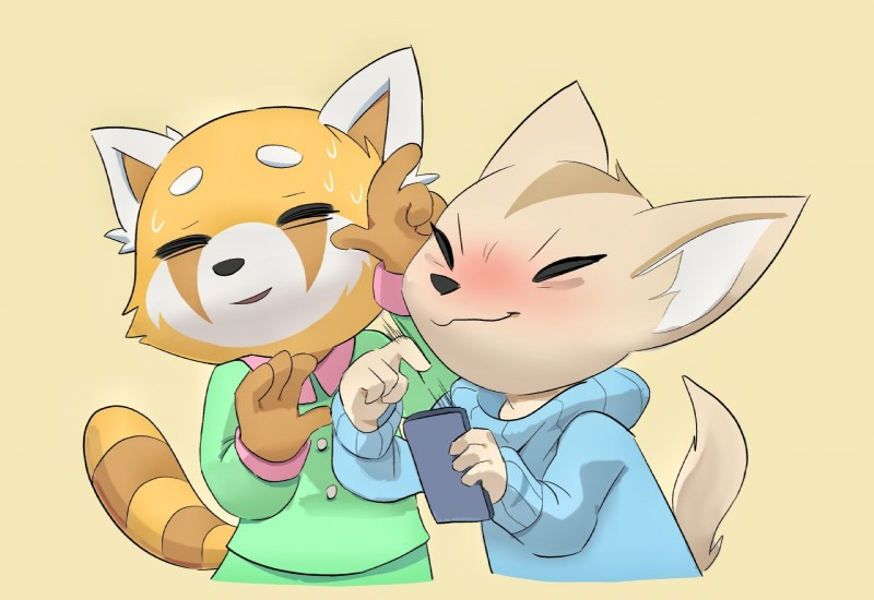 e926 2018 aggressive_retsuko anthro canine clothing digital_media_(artwork) dvdfu female fennec fenneko fox fur hi_res mammal red_panda retsuko sanrio simple_background