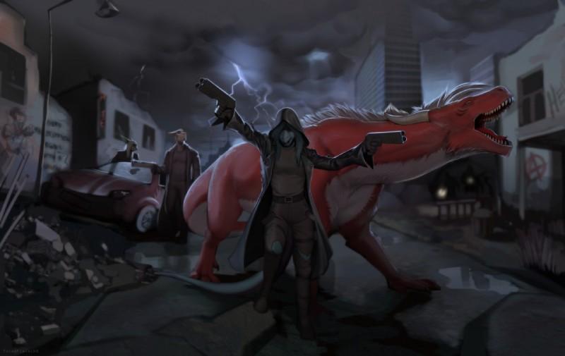 e926 anthro avi axis chris_(totesfleisch8) city dragon feral fish gun marine post-apocalyptic ranged_weapon ruins shark sharkie storm totesfleisch8 urban weapon