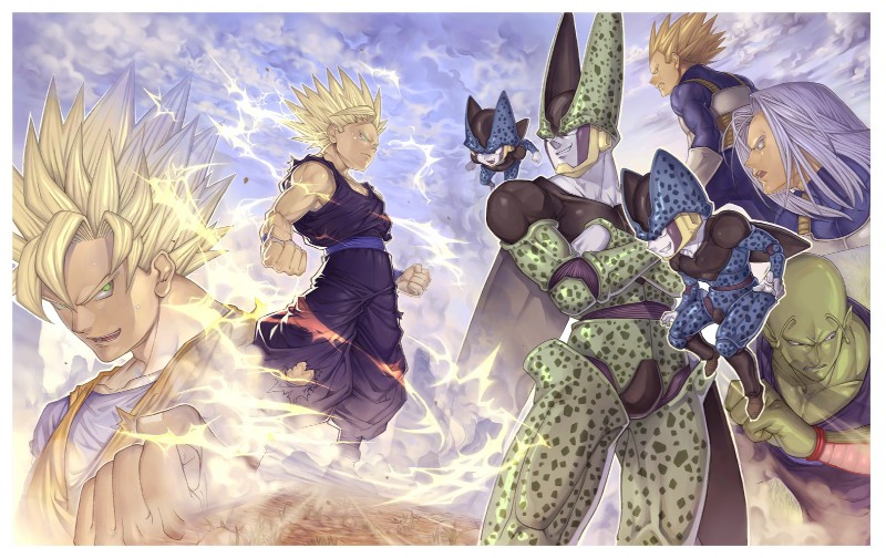 e926 alien antennae bio-android_(dragon_ball) blonde_hair cell_(dragon_ball) cell_jr clothing crossed_arms dragon_ball dragon_ball_z family father fist gohan goku green_eyes green_skin grin group hair hi_res human humanoid katsutake ki male mammal muscular namekian not_furry parent piccolo profile purple_hair silver_hair smile son spiky_hair super_saiyan torn_clothing trunks_(dragonball_z) vegeta