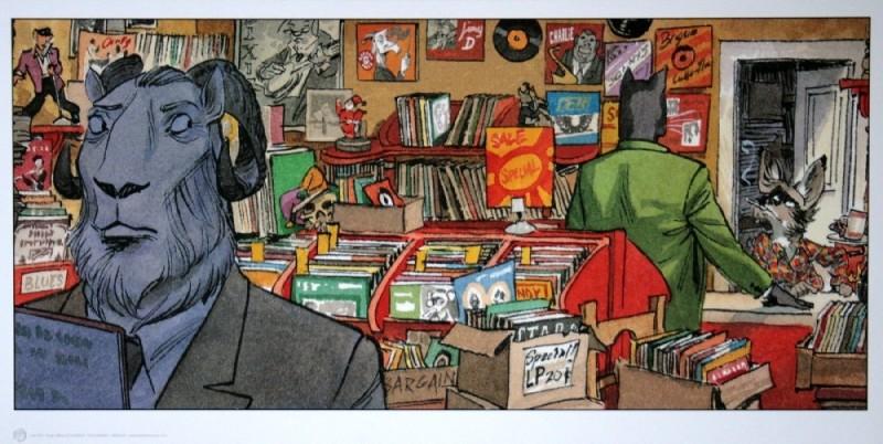 e926 1950s anthro blacksad caprine cat clothing comic elvis_presley feline group john_blacksad juanjo_guarnido male mammal record retro vinyl