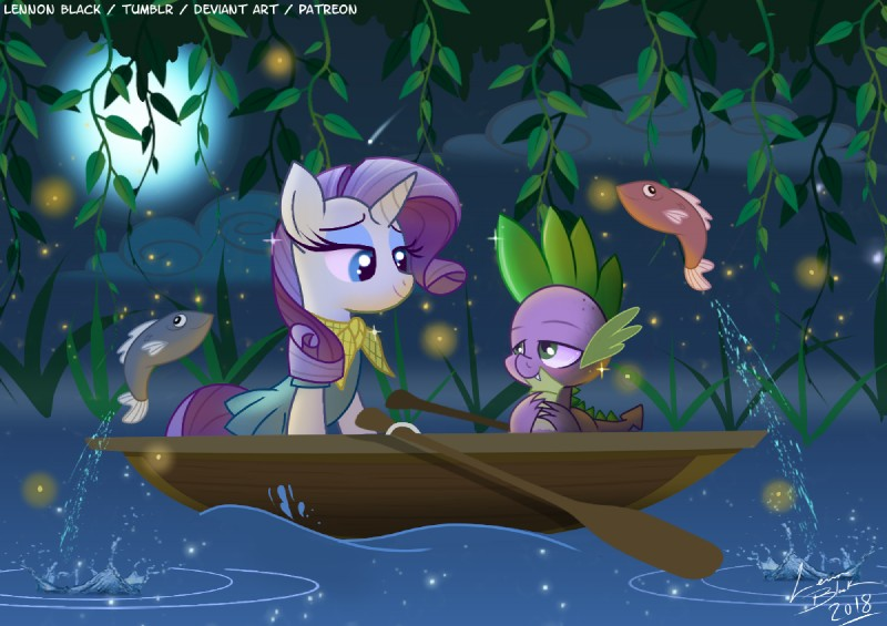 e926 2018 blue_eyes clothed clothing duo_focus equine eye_contact eyelashes female fish friendship_is_magic group half-closed_eyes happy horn lennonblack love male mammal marine my_little_pony parody rarity_(mlp) romantic_couple smile spike_(mlp) text unicorn water